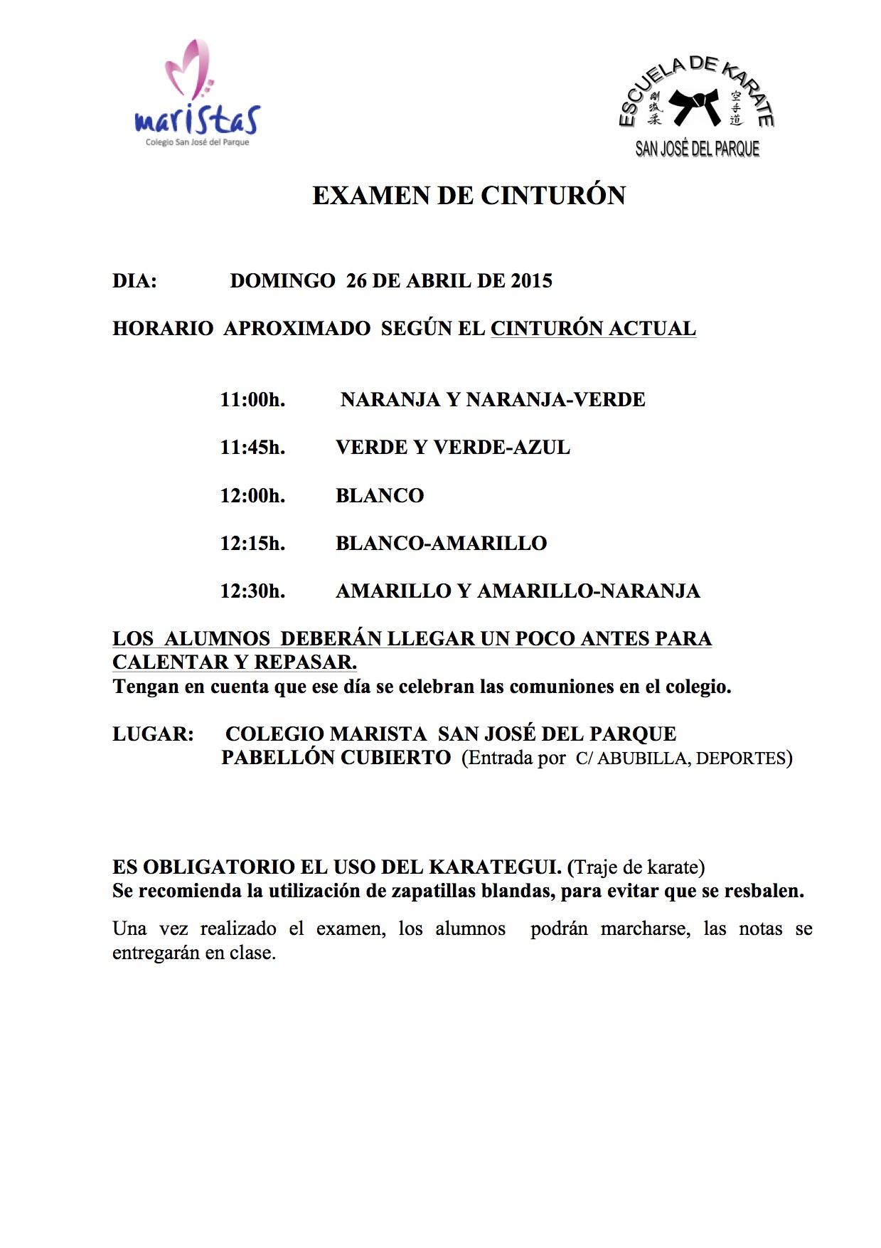 Examen Cinturón KARATE