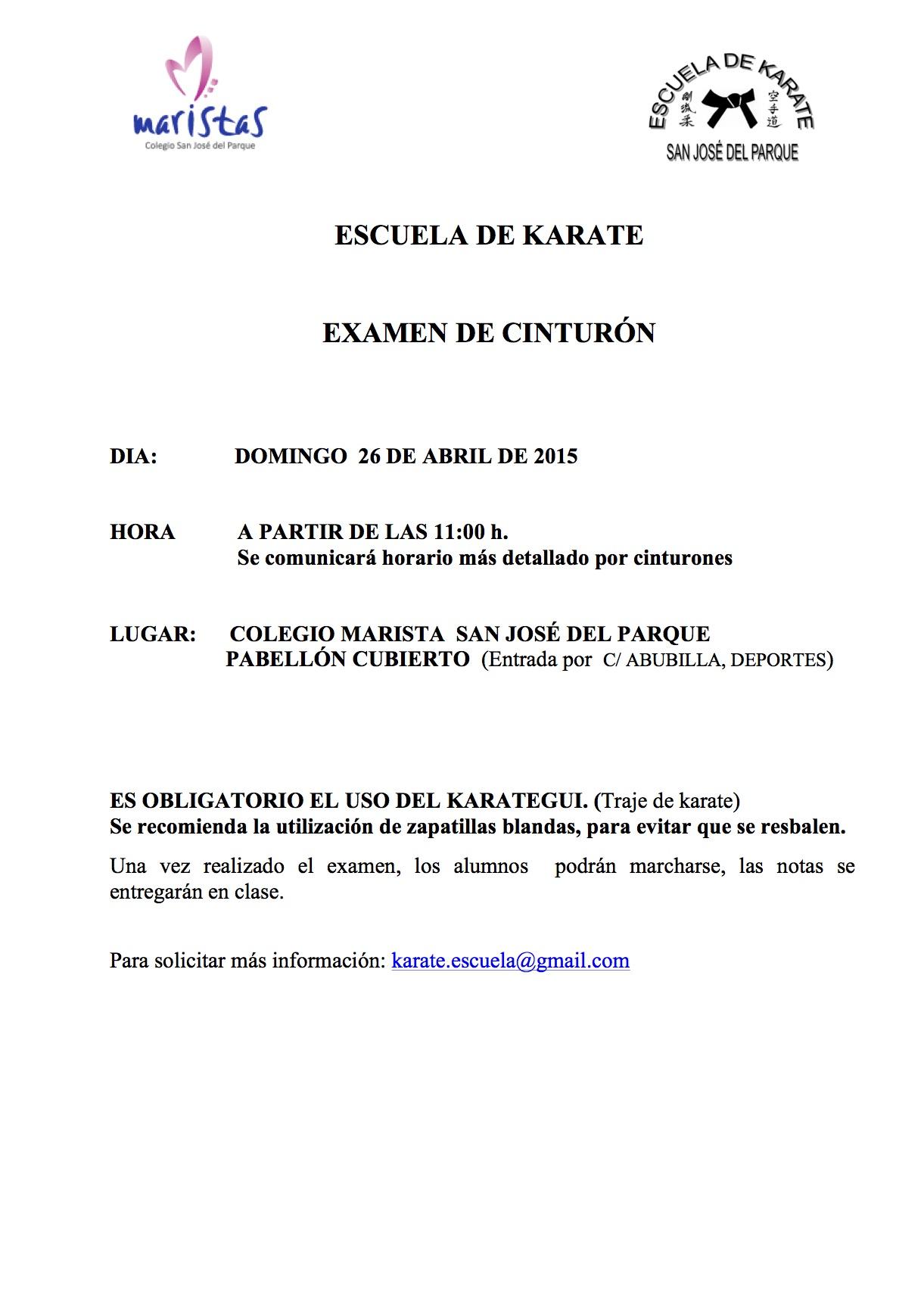 Karate Examen cinturón