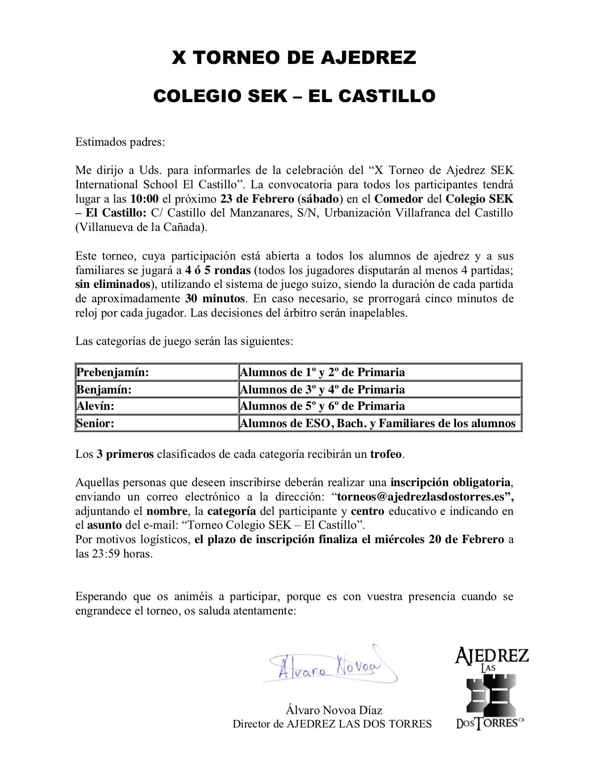 X TORNEO DE AJEDREZ  COLEGIO SEK- EL CASTILLO @ Colegio SEK - El catillo