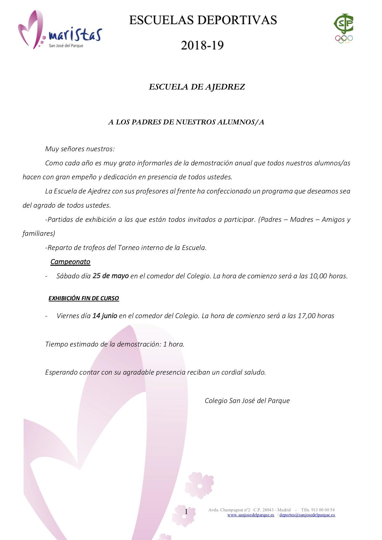 Campeonato  AJEDREZ @ Colegio Marista San José del Parque