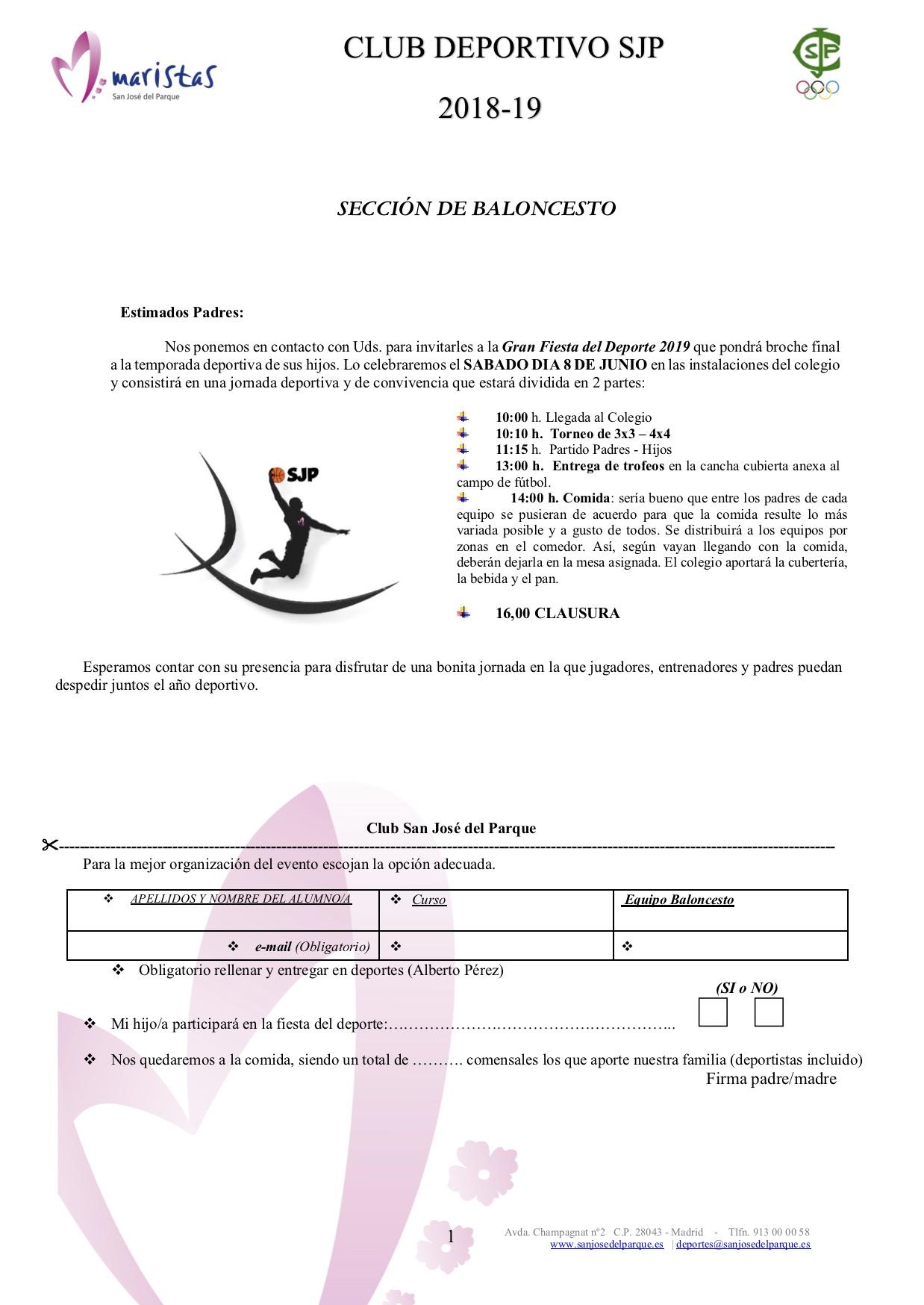 FIESTA DEL DEPORTE - Baloncesto - Fútbol - Voley @ Colegio SJP