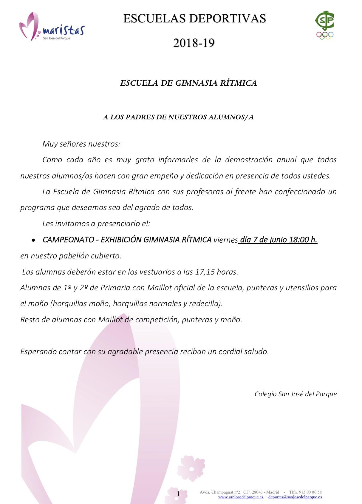 Campeonato Gimnasia Rítmica @ Colegio SJP